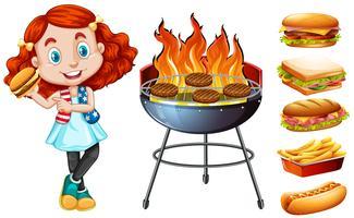 Fille et grill cuisinière avec de la nourriture