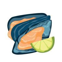 huîtres fraîches réalistes au citron sur fond blanc - vector