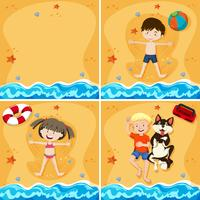 Un ensemble de gamins à la plage de sable