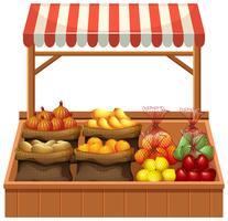 Étal de légumes frais isolé