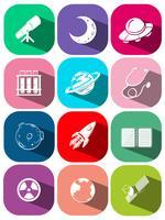 Symbole de la technologie sur les icônes carrées vecteur