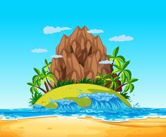 Une île tropicale et une vague
