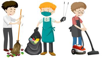 Un ensemble de jeune homme nettoyant vecteur