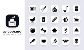pack d'icônes de cuisine plat minimal. vecteur