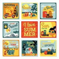 Cartes de design plat moderne de vecteur des vacances d'été.