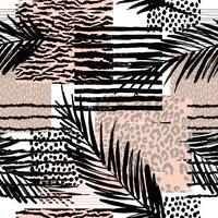 Tendance modèle exotique sans couture avec prins palm et animal