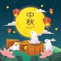 festival de gâteau de lune avec lapin et lanterne vecteur