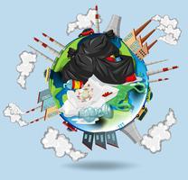 Un monde plein de pollutions et de déchets vecteur