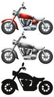 Ensemble de moto sur fond blanc vecteur