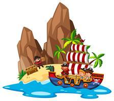 Enfants naviguant sur un bateau pirate vecteur