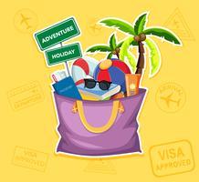 Élément de plage d'été dans un sac