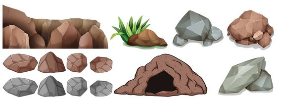 Cave et différentes formes de roches