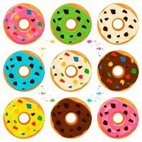 illustration sur le thème grand ensemble différents types de beignets collants vecteur