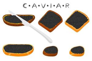 illustration sur le thème grand ensemble divers types de caviar de poisson vecteur