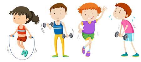 Un ensemble de musculation pour enfants vecteur