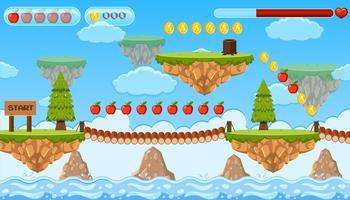 Une scène d'île de modèle de jeu de saut vecteur