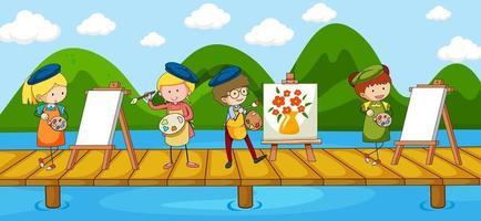 scène avec de nombreux personnages de dessins animés d'artistes sur le pont traversant la rivière vecteur