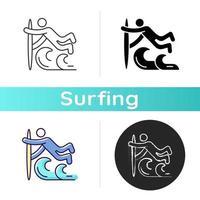 icône de technique de surf superman vecteur