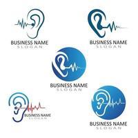 oreille logo audition et symbole clinique vecteur