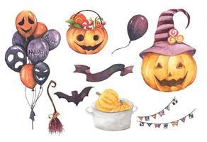 joyeuse collection d'halloween. illustration à l'aquarelle. vecteur