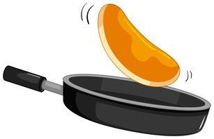 Pancake frais dans la casserole vecteur