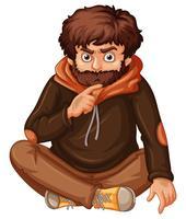 Homme à la barbe brune vecteur