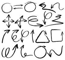 Doodles dessinant des flèches vecteur