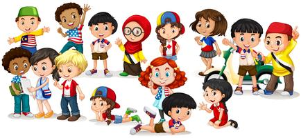 Groupe d'enfants internationaux vecteur
