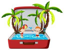 Vacances d'été à la plage dans une valise