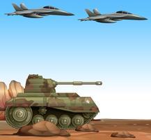 Deux jets de combat et un char militaire dans le champ de bataille