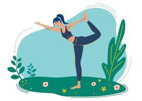 fille fait du yoga dans la nature, dans le parc, profitant de la tranquillité. vecteur