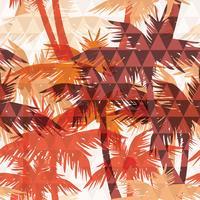 Transparente motif exotique avec paume sur fond géométrique. vecteur