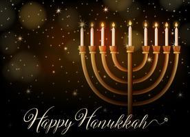 Hanoucca heureuse avec des lumières la nuit vecteur
