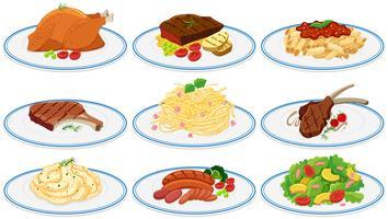 Différents types de nourriture dans les assiettes vecteur