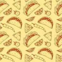 modèle sans couture de cuisine mexicaine avec taco vecteur