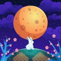 lune et lapin à la mi-automne vecteur