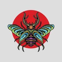 dessin d'insecte avec cercle rouge vecteur