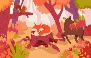 animaux de la forêt de renard et de cerf d'automne dessinés à la main vecteur