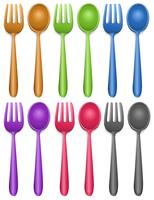 Six paires de fourchette et cuillère vecteur