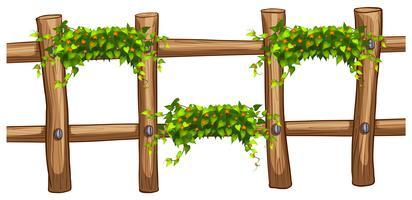 Clôture en bois à décor végétal vecteur