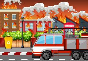 Un village en feu vecteur