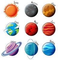 Planètes du système solaire vecteur