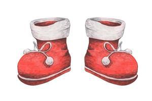 bottes rouges. décor de noël, illustration aquarelle. vecteur