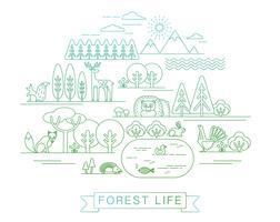 Illustration vectorielle de la vie en forêt.