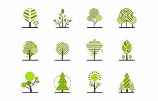 bel ensemble d'éléments d'arbre vecteur