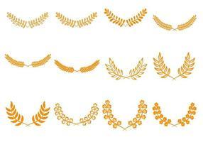 icônes d'aile de couronnes de laurier vintage vecteur