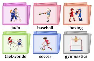 Wordcards pour six sports différents vecteur
