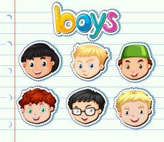 Ensemble d'autocollants de garçons avec un visage heureux