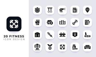 pack d'icônes de remise en forme plat minimal. vecteur