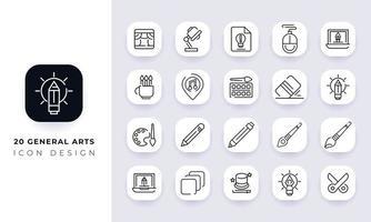 pack d'icônes arts généraux incomplet vecteur